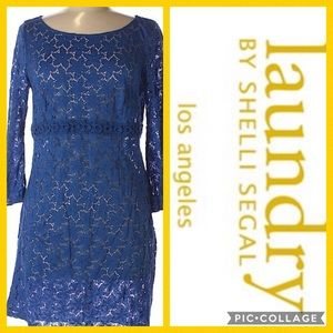 Laundry by Shelli Segal Blue Sheer Floral Dress